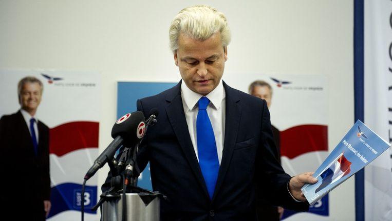 Geert Wilders presenteert het verkiezingsprogramma van de PVV met de titel 'Hun Brussel, ons Nederland' Beeld anp