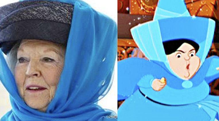 Koningin Beatrix en de Disneyfee Mooiweertje: opvallende gelijkenis. Beeld