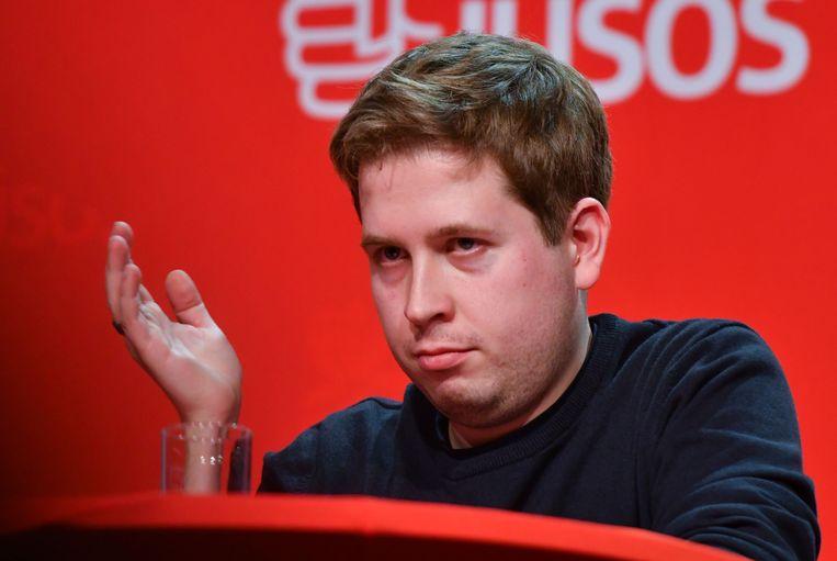Kevin Kühnert groeide in kortste tijd van een onbekend jonkie uit tot een landelijke politicus naar wie wordt geluisterd. Beeld AFP