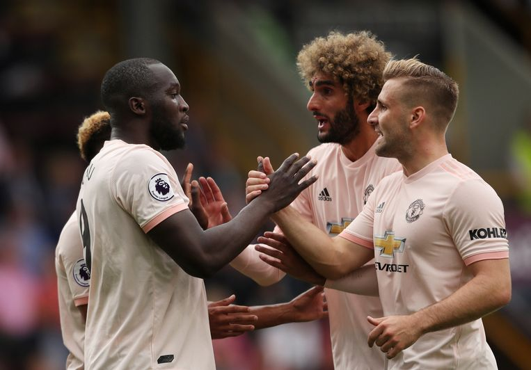 Luke Shaw (r) en Romelu Lukaku tijdens hun periode bij Manchester United