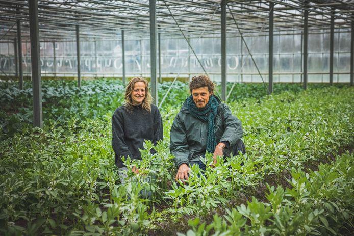 Elise en Koen in de serre van plukboerderij Grondig.