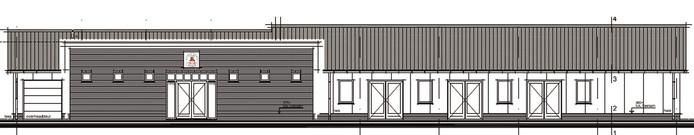Bouwtekening van het nieuwe clubgebouw van EMM Giesbeek. © EMM