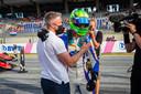David Schumacher viert met vader Ralf.