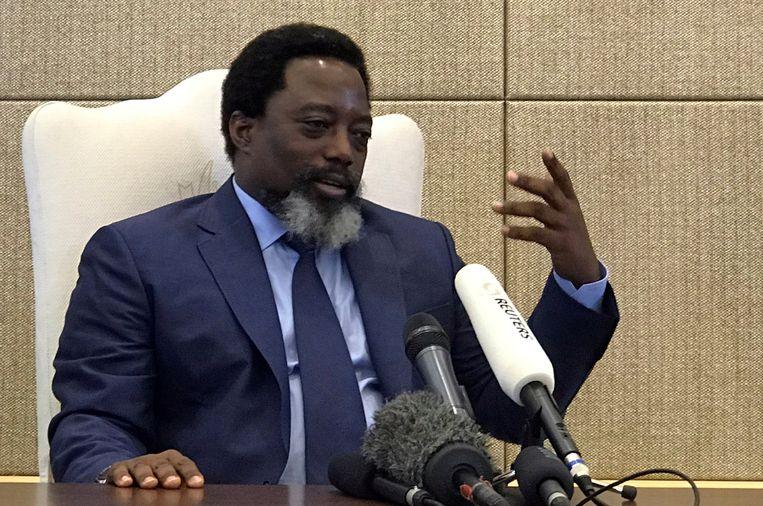 De aftredende president Joseph Kabila. Hij mocht zich volgens de grondwet niet langer kandidaat stellen. Beeld REUTERS