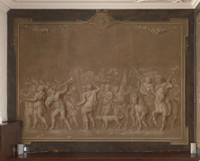 Deel van de wandschildering op de eerste verdieping van het Hofkeshuis aan de Grotestraat.