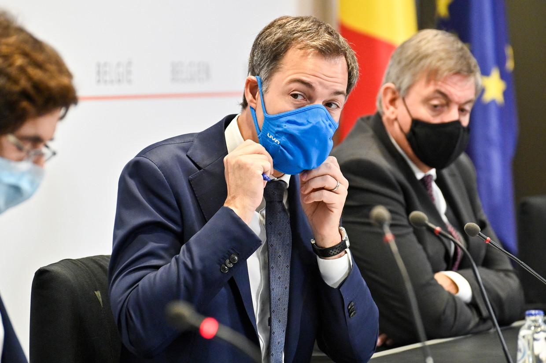 Premier Alexander De Croo op de persconferentie na een eerder Overlegcomité. Beeld EPA