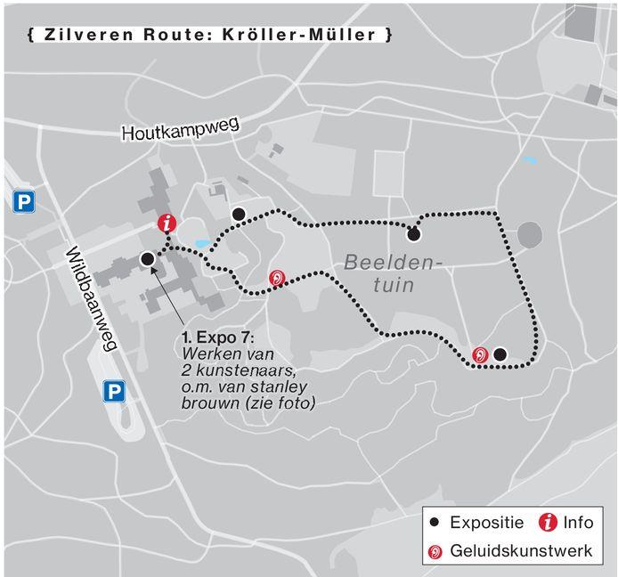De zilveren route van de Sonsbeek-beeldententoonstelling.