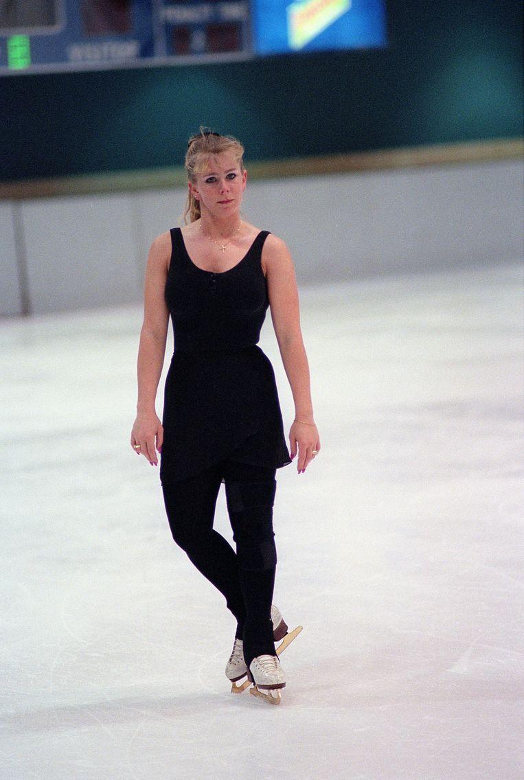 Tonya Harding op een training in mei 1996. Beeld Photo News