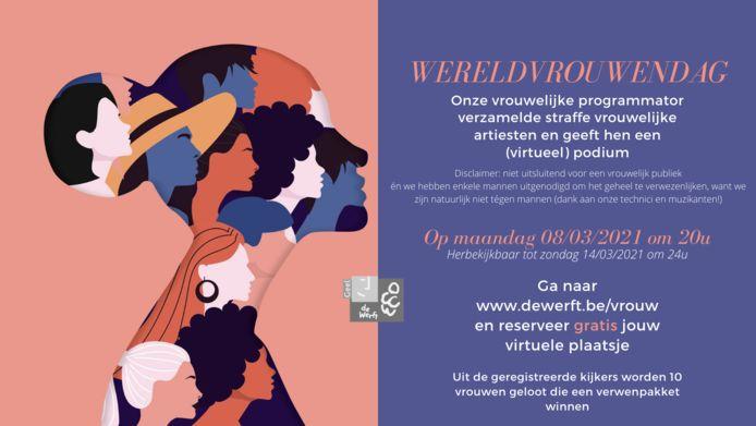 Een promobeeld van de virtuele Wereldvrouwendag in cultuurcentrum De Werft.