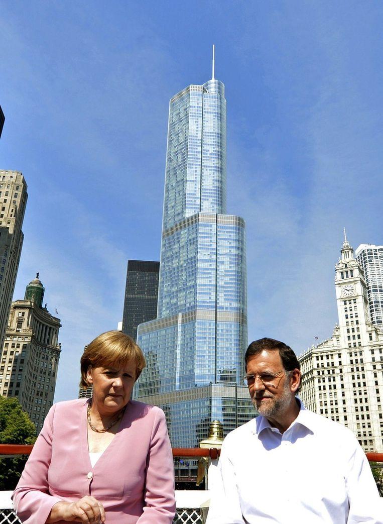 Angela Merkel en de Spaanse premier Mariano Rajoy Beeld epa