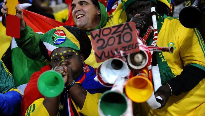 Zuid-Afrikaanse supporters bij het WK voetbal 2010.