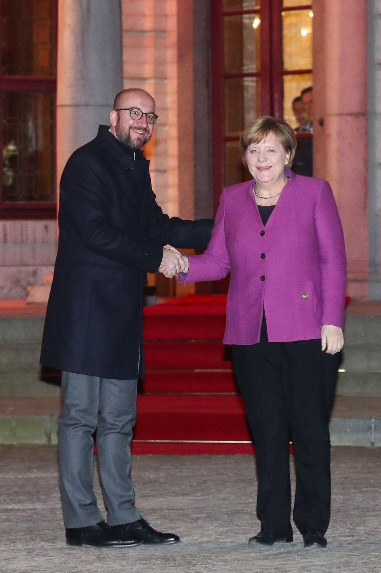 Premier Michel en Bondskanselier Angela Merkel bij Hertoginnedal in februari van dit jaar. Beeld BELGA