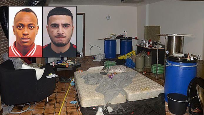 Twee van de drie dode laboranten, en hun verblijfsruimte tussen chemicaliën in het Belgische drugslab. De jongemannen hadden geen sleutel en zaten mogelijk opgesloten.