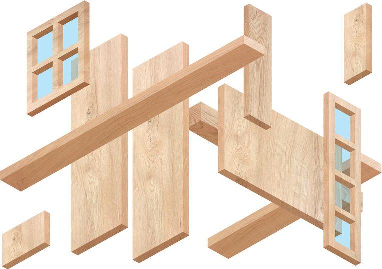 Ook in de prefab-bouw krijgt beton steeds meer concurrentie van hout. Beeld Sander Soewargana