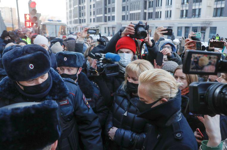 Yulia Navalnaya, echtgenoot van de Russische oppositieleider Alexej Navalny, arriveert bij de rechtbank.  Beeld REUTERS