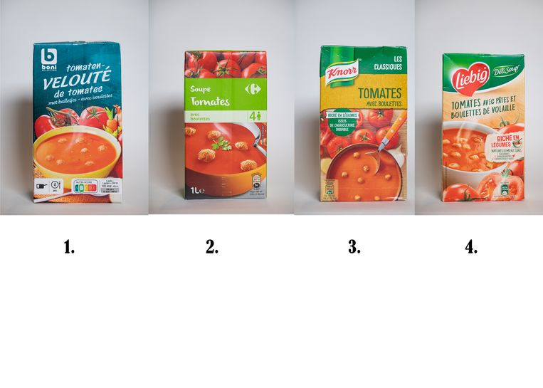 Tomatensoep: 1. Boni Tomatenvelouté, 2. Carrefour tomatensoep, 3. Knorr tomatensoep met balletjes, 4. Liebig Tomatensoep met balletjes
