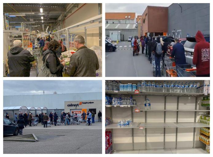 Supermarkten over het hele land kampen met grote drukte.