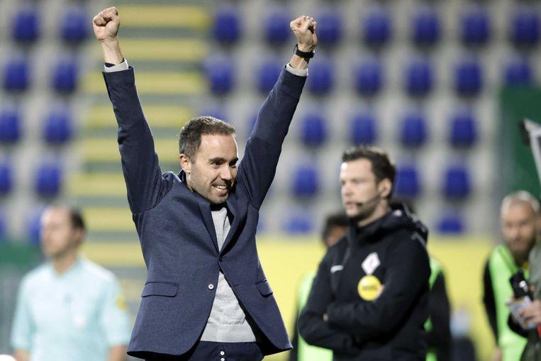 Fortuna Sittard coach Sjors Ultee viert de overwinning tijdens de Nederlandse Eredivisie-wedstrijd tussen Fortuna Sittard en RKC Waalwijk op 22 december 2020. Beeld ANP