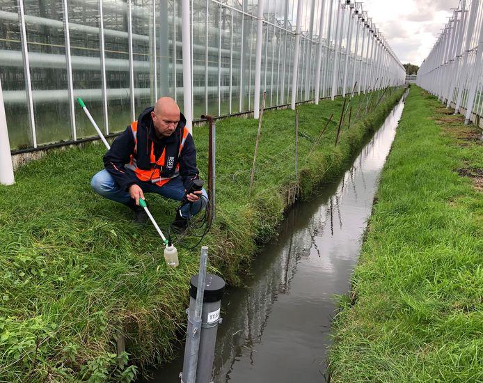 Een medewerker van het Hoogheemraadschap van Delfland meet de waterkwaliteit tussen de kassen.