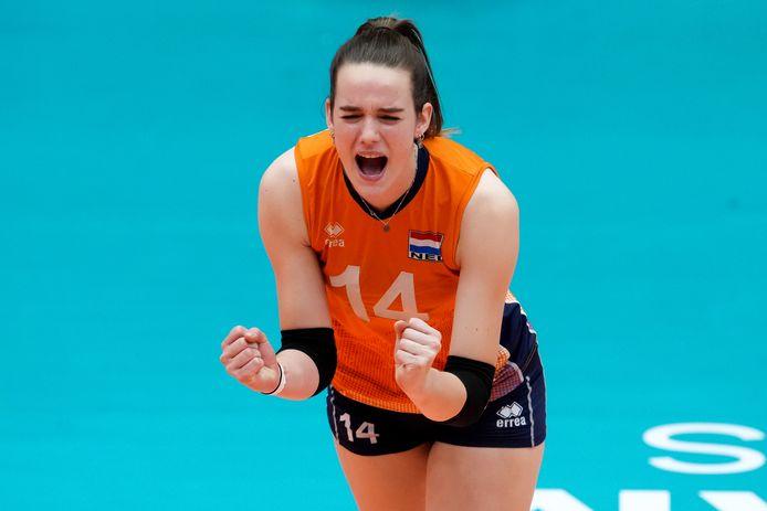 Nicole van de Vosse, op de ondankbare vierde plaats bij het WK U20 in Rotterdam.