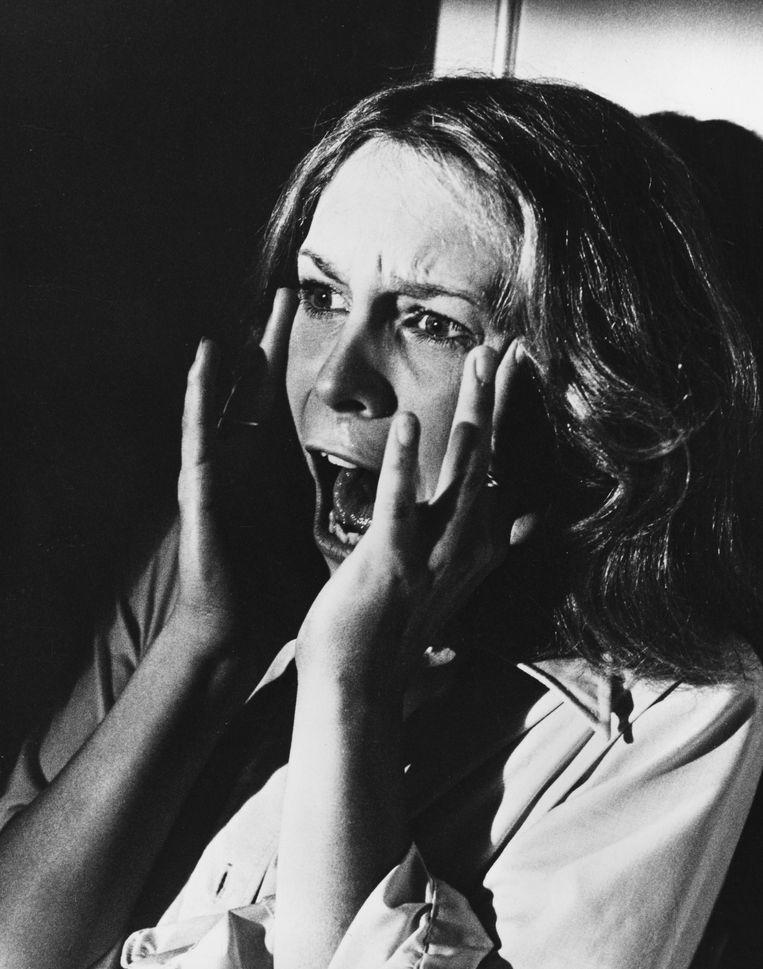 Jamie Lee Curtis in de originele 'Halloween' (1978).  Beeld Alamy Stock Photo