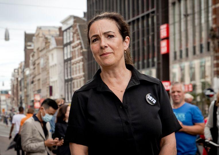 Burgemeester Femke Halsema tijdens het protest op de Dam. Beeld Hollandse Hoogte /  ANP