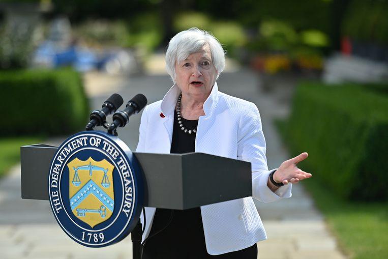 De Amerikaanse minister van financiën, Janet Yellen, sprak afgelopen weekend tijdens de bekendmaking van de nieuwe belastingafspraken tussen landen van de G7. Beeld REUTERS