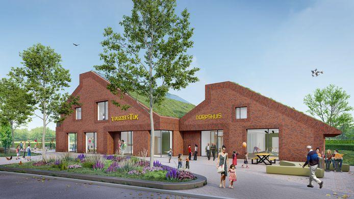 Dit is hoe de nieuwe school en het dorpshuis in Tuk eruit moeten gaan zien.