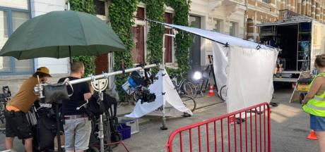 Edgard 'Carry' Goossens in de Belpairestraat voor filmopnames 'Kapitein Zeppos'