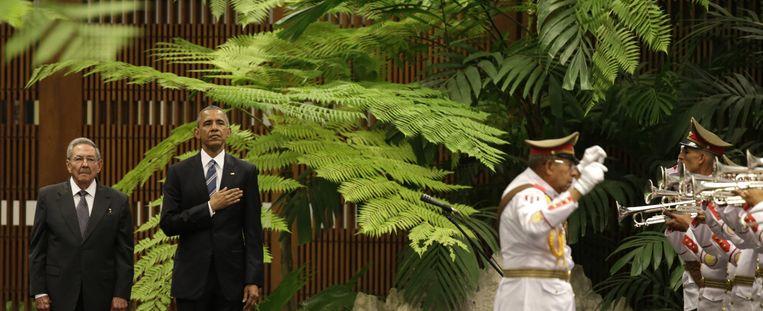 Cubaans president Raul Castro en president van de Verenigde Staten, Barack Obama. Beeld ap