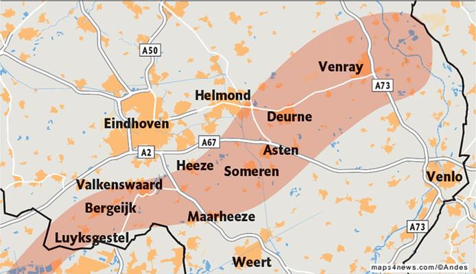 Een smalle strook ten zuiden van Eindhoven en Helmond kreeg in juni 2016 tropische stortregens en een hagelstorm te verwerken.