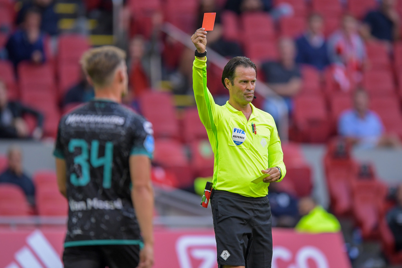 20-09-2020: Voetbal: Ajax v RKC Waalwijk: Amsterdam Red card by referee Bas Nijhuis for Luuk Wouters of RKC Waalwijk