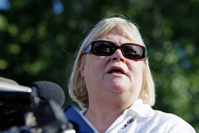 Sharon Murch,  de moeder van Michaela Garecht, sprak in 2009 de pers toe. (archieffoto)