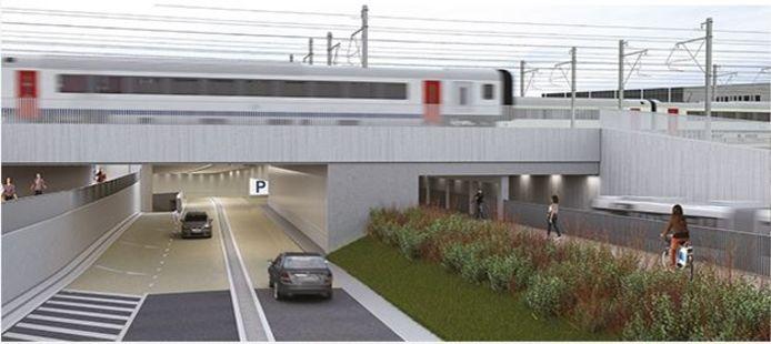 De nieuwe wegtunnel met ernaast de fiets- en bustunnel, kant Panorama.