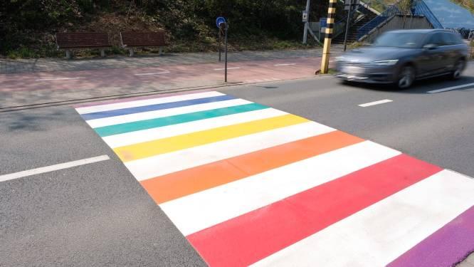 """Regenboogzebrapaden aan jeugdhuis Dido en aan Sint-Jozefschool: """"Maar gemeente doet meer dan enkel kleuren"""""""
