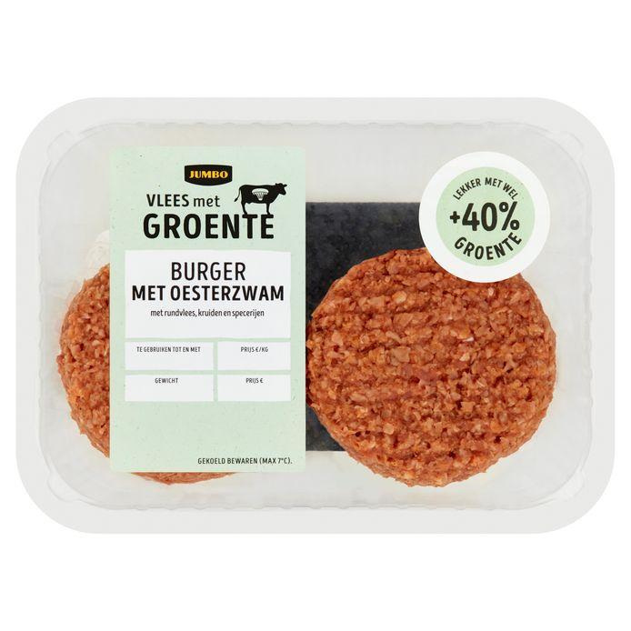 Twee burgers met oesterzwam (120 gram per stuk). Prijs: 3,49 euro. De twee worsten (100 gram per stuk) zijn 2,99 euro.