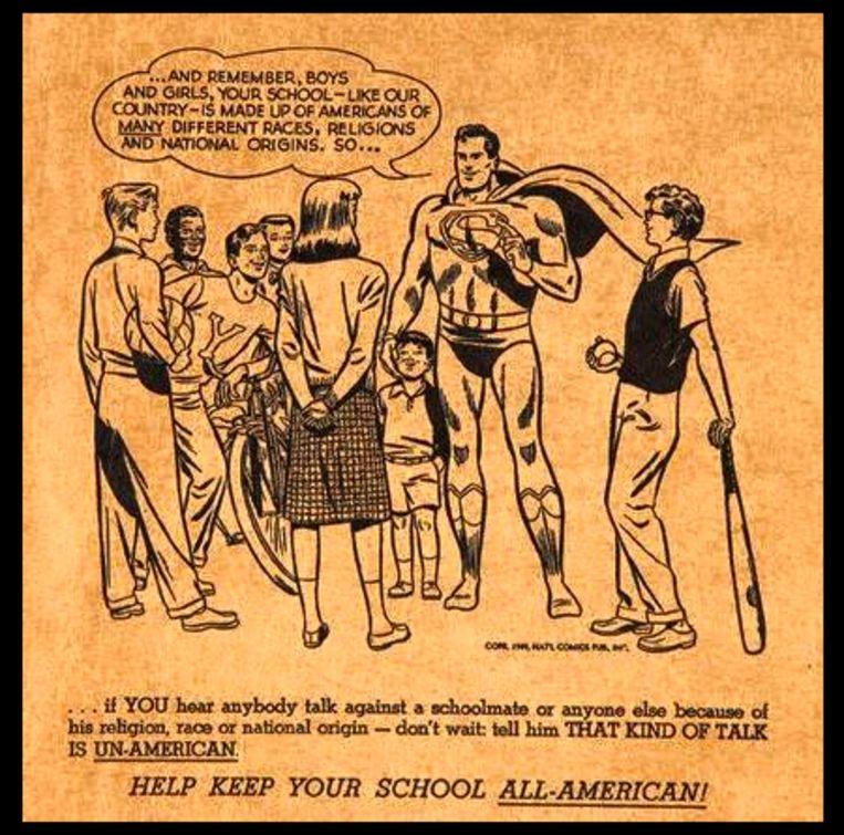In de jaren vijftig riep Superman scholieren op om komaf te maken met racisme. Beeld rr