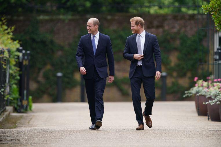 Prins Harry en prins William bij de onthulling van het standbeeld van prinses Diana. Beeld BrunoPress/PhotoShot