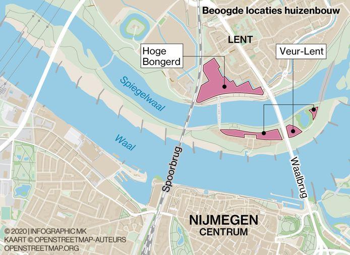 De gebieden op en rond het stadseiland die in aanmerking komen voor woningbouw.