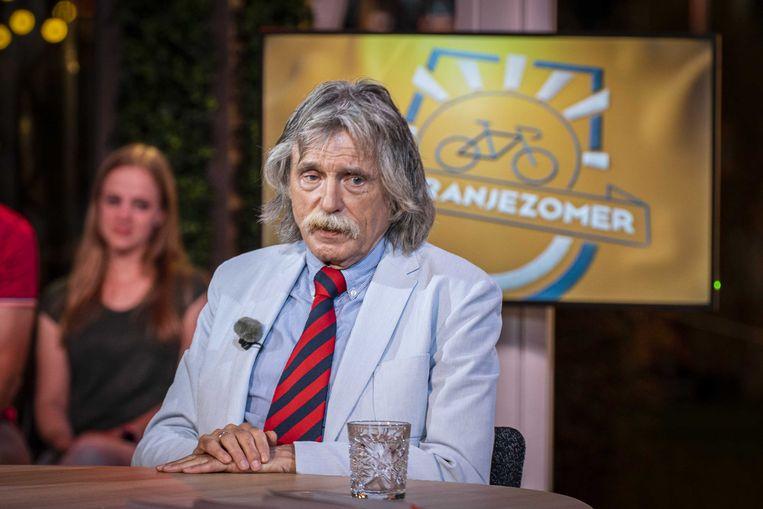 Johan Derksen in het tv-programma De Oranjezomer. Beeld ANP