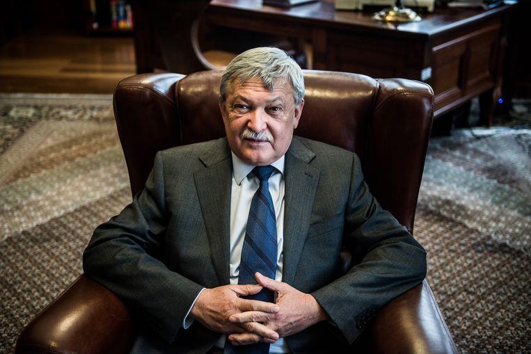 Sandor Csanyi, voorzitter van de Hongaarse OTP Bank en een van de voornaamste begunstigden van landbouwsubsidies. 'Ik word continu beschuldigd en dat maakt me boos.' Beeld Bloomberg via Getty Images