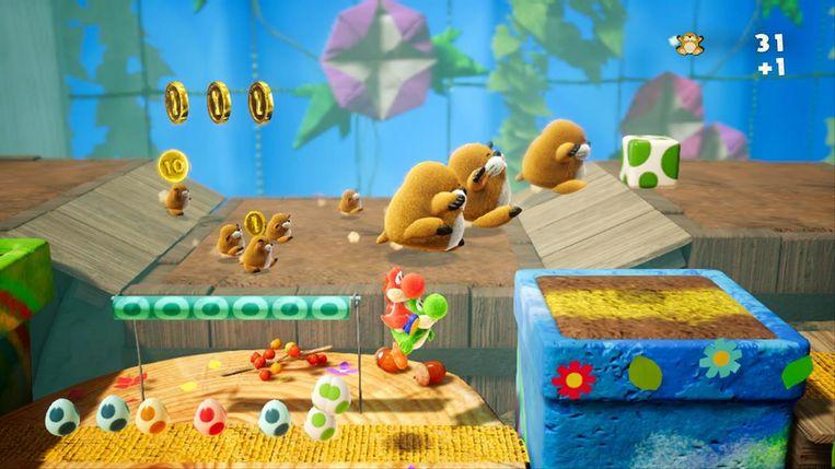 Screenshot uit 'Yoshi's Crafted World'. Beeld Nintendo