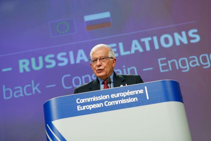 Le chef de la diplomatie européenne Josep Borrell en conférence de presse à Bruxelles, le 16 juin 2021.