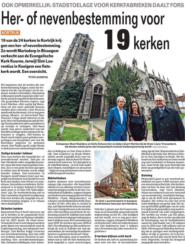 Groen vindt het niet kunnen dat de info over het kerkenplan voor de gemeenteraad al in de krant stond.