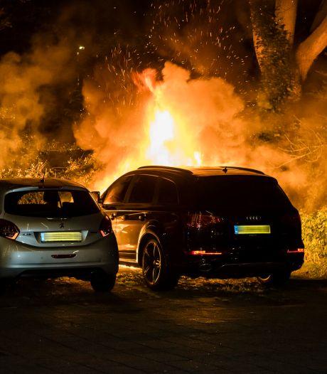 Twee geparkeerde auto's in lichterlaaie in Tilburg