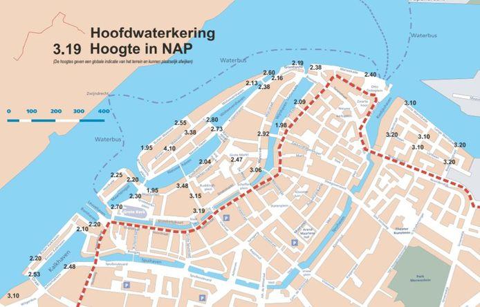 Verschillende kades in Dordrecht liggen onder de verwachte waterstand van 2.26 meter boven NAP.
