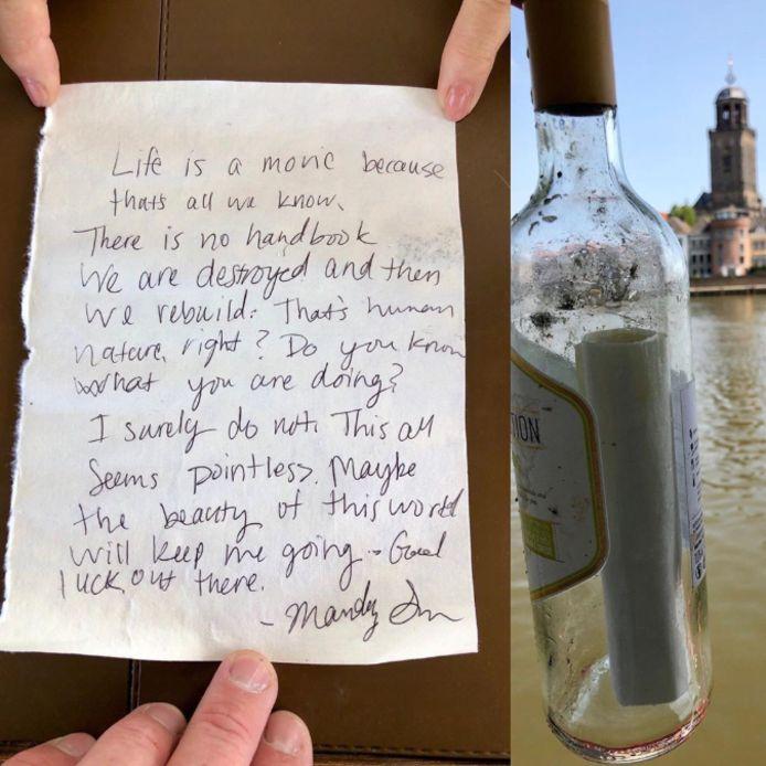 De door de pontvaarder in Deventer gevonden fles en mysterieuze brief van Mandy.