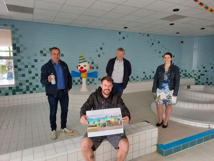 Het Kuurns zwembad kreeg van de FOD Volksgezondheid een omgevingsvergunning zonder einddatum. Het goeie nieuws wordt gevierd met een kunstwerk van de Kuurnse graffiti-artiest David Duits.