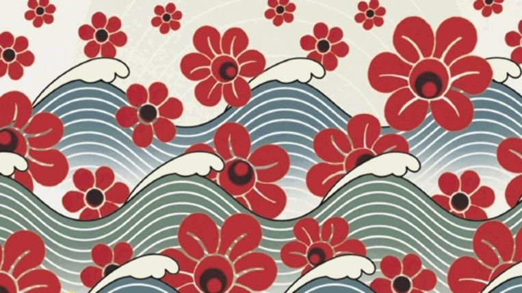 De zee en papaver, de bloemen waaruit opium wordt gewonnen, sieren het omslag van Amitav Ghosh¿ nieuwste roman. (Trouw) Beeld