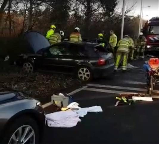 Foto van het ongeluk.